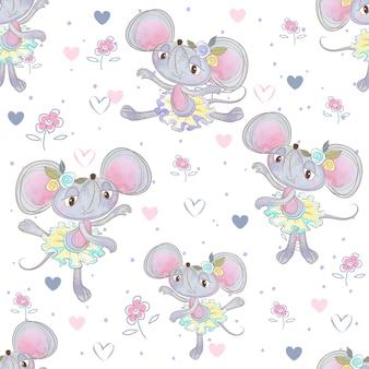 Patrón sin costuras divertidas bailarinas de ratón bailando en la pradera.