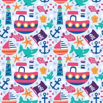 Patrón sin costuras doodle barco ancla faro tiburón pez bandera pescado