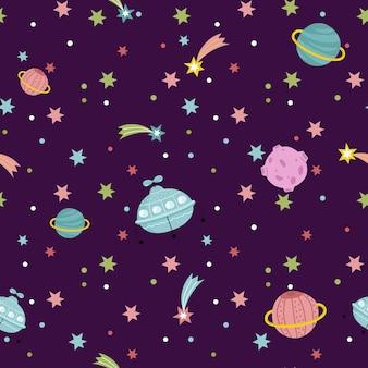 Patrón sin costuras del espacio profundo