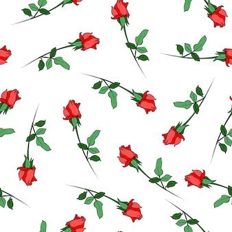 Patrón sin costuras con estampado de fondo de flores rosas rojas para textil hermoso para el adorno de diseño de tela