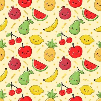 Patrón sin costuras estilo de kawaii de frutas tropicales en crema