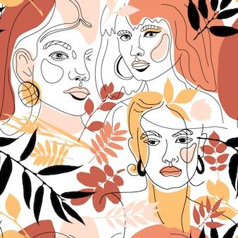 Patrón sin costuras de estilo de línea mínima de cara de mujer