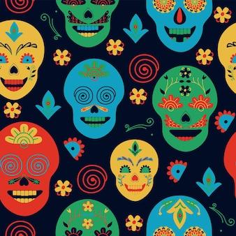 Patrón sin costuras de estilo mexicano pintado calaveras sobre fondo negro arte popular dibujo a mano