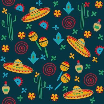 Patrón sin costuras de estilo mexicano sombrero cactus fondo negro arte popular dibujo a mano
