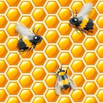 Patrón sin costuras. estilo panal y abejas. ilustración. patrón abstracto médico, producto natural de miel