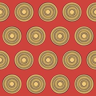 Patrón sin costuras en estilo retro con círculos amarillos en rojo