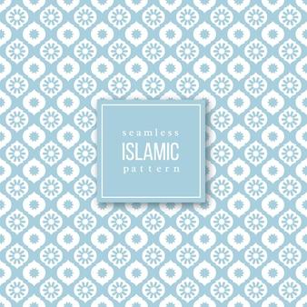 Patrón sin costuras en estilo tradicional islámico. colores azul y blanco. Vector Premium