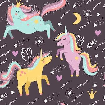 Patrón sin costuras con fantasía unicornios