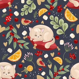 Patrón sin costuras festivo con ilustración de flores y gatos