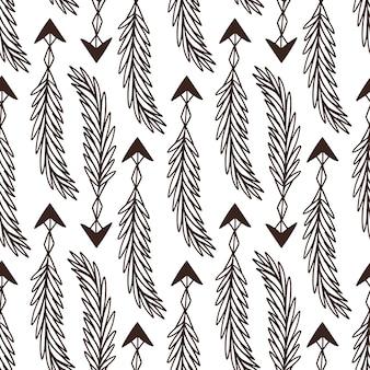 Patrón sin costuras de flechas. diseño rústico