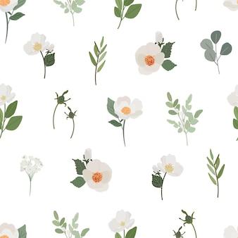 Patrón sin costuras de flor de camelia blanca de estilo plano