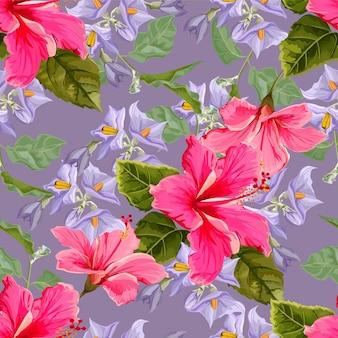 Patrón sin costuras de flor con flor de hibisco