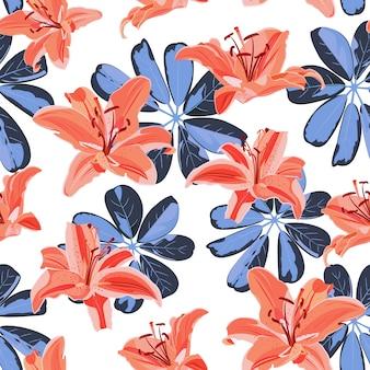 Patrón sin costuras de flor de lirio