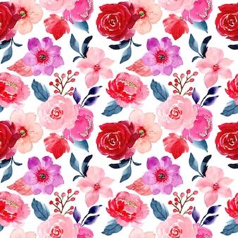 Patrón sin costuras de flor rosa roja con acuarela