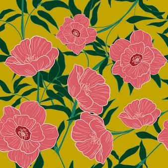 Patrón sin costuras flor rosa
