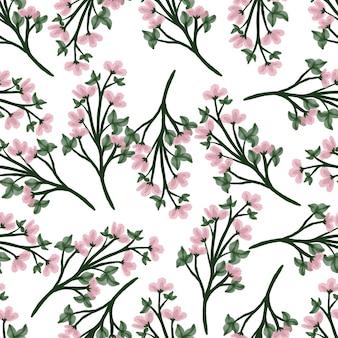 Patrón sin costuras de flor silvestre rosa para diseño de tela