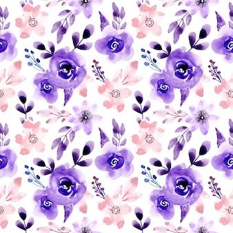 Patrón sin costuras floral acuarela azul rosa