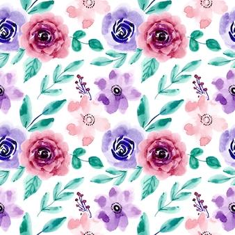 Patrón sin costuras floral acuarela colorida