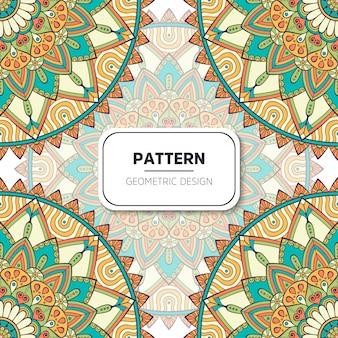 Patrón sin costuras floral étnico con mandalas