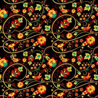 Patrón sin costuras floral khokhloma con pájaros