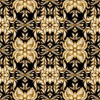 Patrón sin costuras floral ornamental oro retro