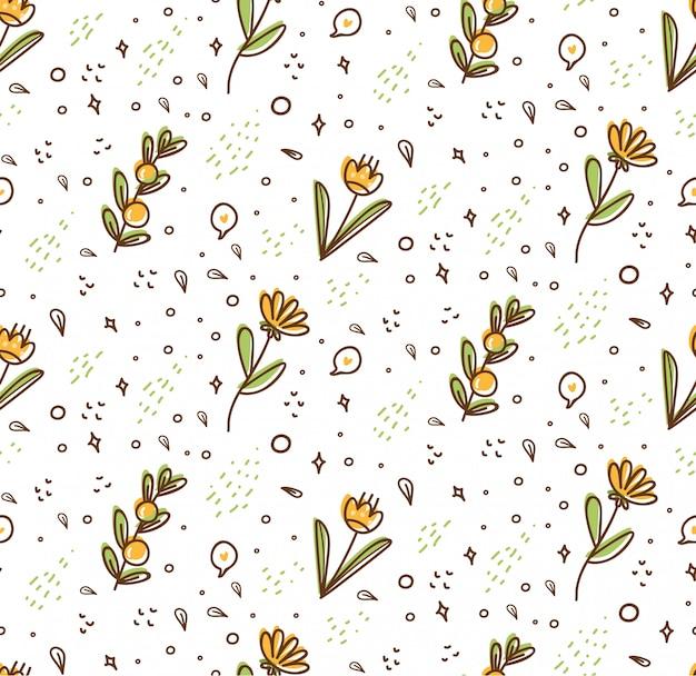Patrón sin costuras de flores en estilo doodle de kawaii