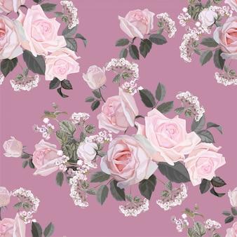 Patrón sin costuras de flores con ilustración vectorial rosa rosa