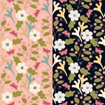 Patrón sin costuras de flores y mariposas