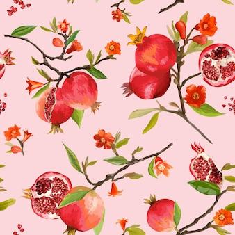Patrón sin costuras. fondo tropical de la granada. patrón floral. flores, hojas, frutos. vector