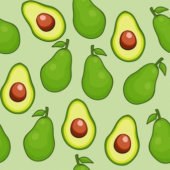 Patrón sin costuras de fruta de aguacate