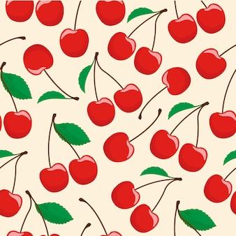 Patrón sin costuras de fruta de cereza