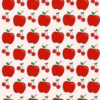 Patrón sin costuras fruta manzana roja