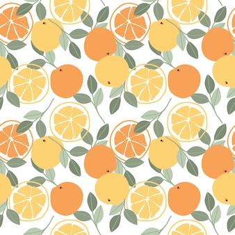 Patrón sin costuras de fruta naranja