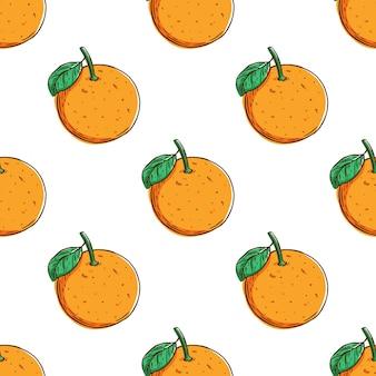 Patrón sin costuras con fruta naranja