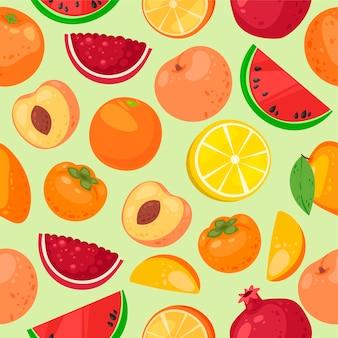Patrón sin costuras de fruta productos alimenticios orgánicos y naturales.