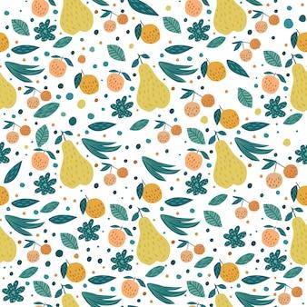 Patrón sin costuras de frutas. cerezas, manzanas, peras y hojas.