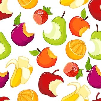 Patrón sin costuras de frutas medio comido