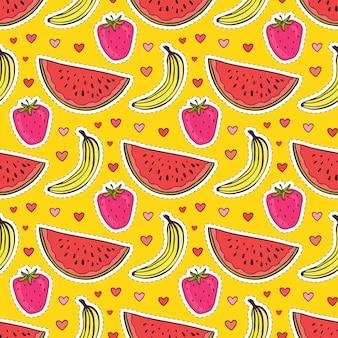 Patrón sin costuras de frutas con sandía