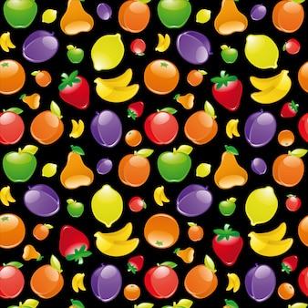 Patrón sin costuras de frutas sobre fondo negro