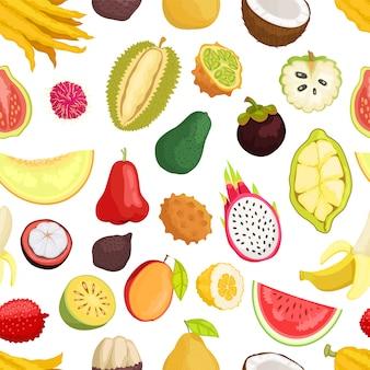 Patrón sin costuras frutas tropicales