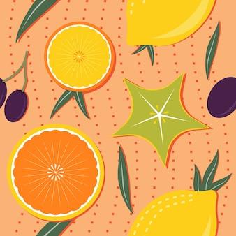 Patrón sin costuras de frutas tropicales