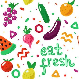 Patrón sin costuras de frutas y verduras