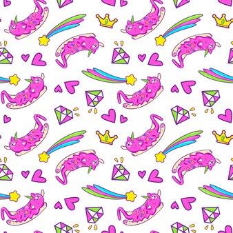 Patrón sin costuras de gato unicornio
