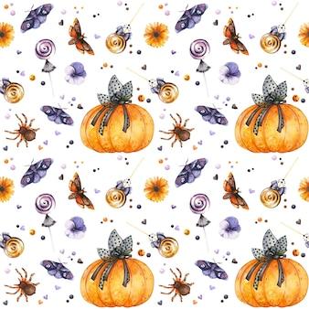 Patrón sin costuras gótico de halloween con insectos y dulces de calabaza acuarela