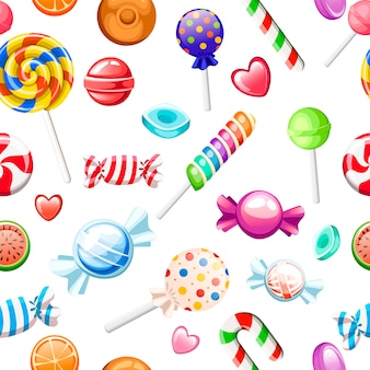 Patrón sin costuras. gran colección de caramelos de diferentes estilos de dibujos animados. envuelto y no piruletas, caña, dulces. lindos dulces brillantes. iconos de colores planos. ilustración sobre fondo blanco.