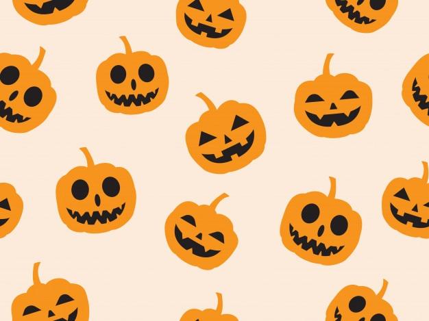 Patrón sin costuras de halloween con diablo calabaza