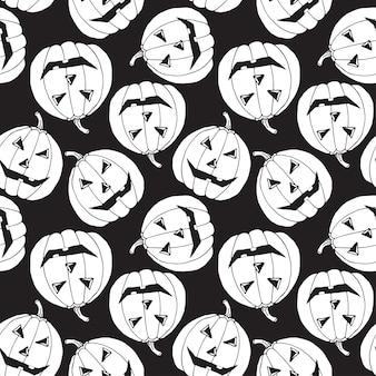 Patrón sin costuras de halloween fondo de calabazas espeluznantes. patrón de vector de dibujos animados para la fiesta de halloween.