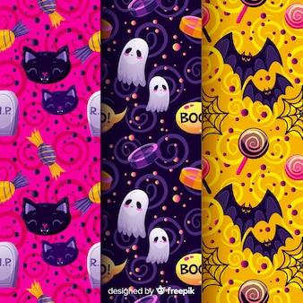 Patrón sin costuras de halloween con personajes festivos