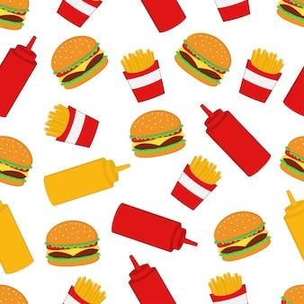 Patrón sin costuras hamburguesa y papas fritas