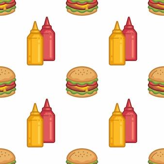 Patrón sin costuras de hamburguesas y salsas en estilo de línea plana diseño moderno